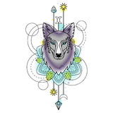 Abstract Wolf Watercolor Tattoo Stock Fotografie