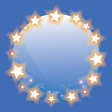 Abstract wolrd with gold star on blue background Royalty Free Stock Photos
