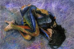 Abstract Woman. Mixed medium photo illustration of a painted woman in fetal position Royalty Free Stock Photo