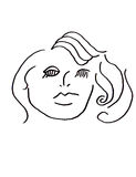 Abstract Woman. Simple black and white ink line art with a female face and old style hair Stock Images