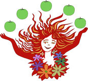 Abstract woman with apples. Royalty Free Stock Image