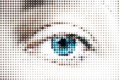Abstract woman blue eye made from dots. Vector Stock Image