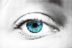 Abstract woman blue eye made from dots. Vector Stock Photos