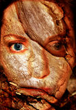 Abstract Woman Cracked Face. A disturbing digital art creation of a face which is worn, cracked, faded and broken. A great representation of personal chaos stock illustration