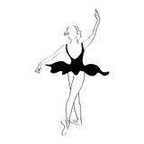 Abstract woman dancer line art illustration. Ballet posing performance. Ballerina classical drawing Stock Image