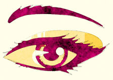 Abstract woman eye. Abstract cartoon woman's eye on white background Royalty Free Stock Images