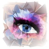 Abstract woman eye  created from polygons. Royalty Free Stock Images