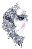 Abstract woman face. Beautiful woman with mystic decorated face Stock Image