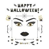 Abstract woman face with golden eyes and long lashes and eyebrows Happy Halloween beware card. Black close up of abstract woman face with golden eyes and long vector illustration