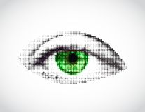 Abstract woman green eye made from dots. Vector Royalty Free Stock Images