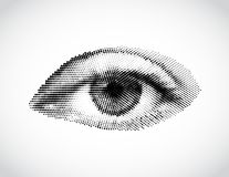 Abstract woman grey eye made from dots. Vector Stock Images