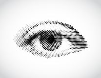Abstract woman grey eye made from dots. Vector Stock Photo
