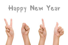 Abstract woman hands with hand symbol 2016 signs, Happy new year hand. Royalty Free Stock Photo
