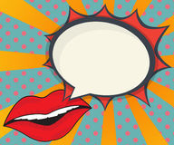 Abstract woman lips with speech bubble comic book. Pop art background  illustration Stock Photography