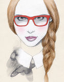Abstract woman portrait with glasses .fashion background Stock Photography