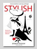 Abstract Woman With Big Hat With Flower In Paris. Fashion Magazine Cover Design.