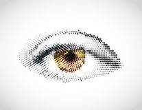 Abstract woman yellow eye made from dots. Vector. Illustration Royalty Free Stock Photo