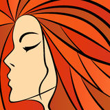 Abstract women with fiery hair Royalty Free Stock Photography