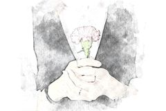 Abstract women holding flower watercolor painting vector illustration