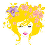 Abstract women love flowers illustration  Royalty Free Stock Photo