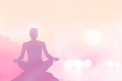 Abstract women meditating pastel on high mountain in sunset Royalty Free Stock Images