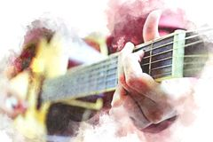 Abstract women playing acoustic guitar watercolor paint. stock illustration