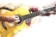 Abstract women playing acoustic guitar watercolor paint. vector illustration