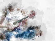 Abstract playing acoustic guitar watercolor painting background. stock illustration