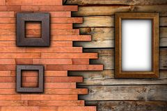 Abstract wood backdrop with frames Royalty Free Stock Photo