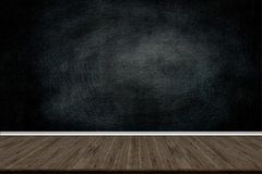Abstract wood floor texture and chalk rubbed out on blackboard Stock Image