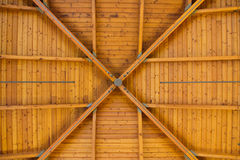 Abstract Wood Pattern on High Ceiling. Bright, brown wood pattern on roof inside large room Royalty Free Stock Photos