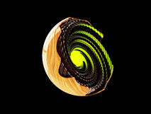 Abstract wood sphere green glow. 3d illustration, on black Background. Abstract wood sphere. 3d illustration. isolated on black Background Stock Image