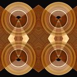 Abstract wooden background with round motives. Abstract wooden background with circle design of a variety of wood samples Royalty Free Stock Photo