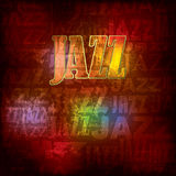 Abstract wooden background with word jazz Royalty Free Stock Photos