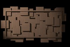 Abstract wooden banner with blocks and frame. Stock Images
