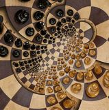 Abstract wooden chess desk white black figures round spiral square spiral effect Pattern effect Surreal chess board desk fractal b Stock Photos