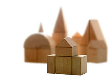 Abstract wooden city Royalty Free Stock Photography