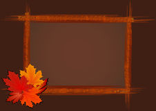 Abstract wooden frame. Abstract wooden frame with autumn leaves, file EPS.8 illustration Stock Images