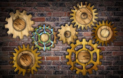 Abstract wooden gear background. Stock Photo
