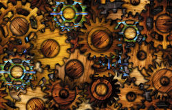 Abstract wooden gear background. Royalty Free Stock Image