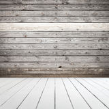 Abstract wooden interior, white floor and wall stock images