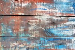 Abstract wood boards background color texture. Old wooden boards with flaked paint and wood structures Royalty Free Stock Photo