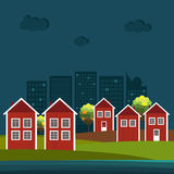 Abstract Wooden Scandinavian Red And White Houses With Sea And Modern Buildings. Night Theme. stock illustration