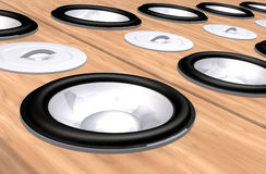 Abstract wooden speakers background Royalty Free Stock Photography