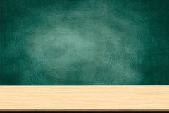 Abstract wooden table texture and chalk rubbed out on blackboard Royalty Free Stock Photography