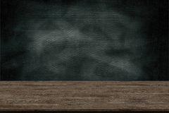 Abstract wooden table texture and chalk rubbed out on blackboard Stock Photography