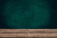 Abstract wooden table texture and chalk rubbed out on blackboard Stock Photo