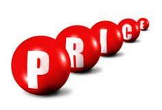Abstract word price. 3d illustration of red spheres spelling word price receding into background Royalty Free Stock Images