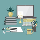Abstract workaholic desk top icons on blue  background Royalty Free Stock Photos