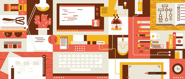 Abstract workspace design flat Royalty Free Stock Photo